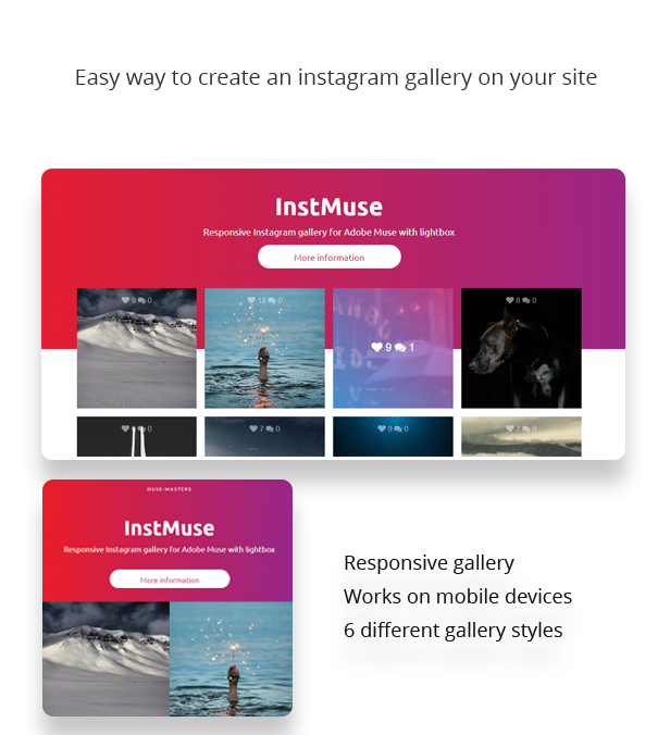 InstMuse - Responsive Instagram gallery with lightbox for Adobe Muse - 1