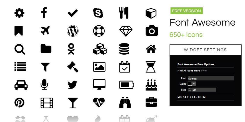 виджет иконок Font Awesome для Adobe Muse
