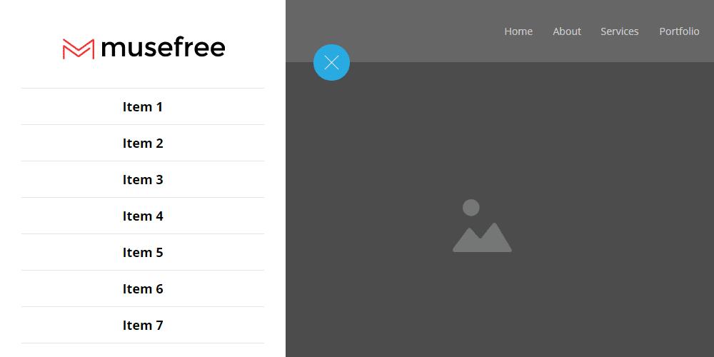 выдвижное боковое сайдбар меню для Adobe Muse