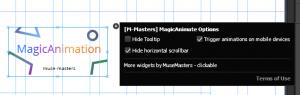 настройки виджета анимации Adobe Muse